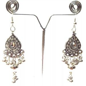 Silver oxidized Indian boho jhumka jhumki earring